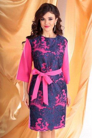 Платье Платье Мода Юрс 2529 фуксия+синий  Состав ткани: ПЭ-95%; Спандекс-5%;  Рост: 164 см.  Контраст цвета - это всегда ярко и выразительно! Платье женское полуприлегающего силуэта. Спинка со средни
