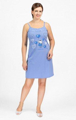 """Сорочка на бретелях, двойного крашения, принт """"Мышка с шариками, голубой (602-3)"""