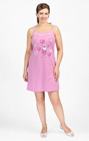 """Сорочка на бретелях, двойного крашения, принт """"Мышка с шариками, розовый (602-1)"""