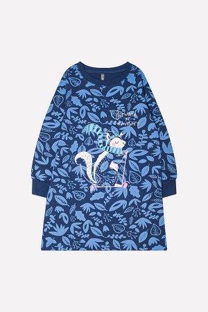Платье Сезон: Осень-Зима Платье из футера с набивным рисунком. Длинные рукава. Обтачка горловины и манжеты из хлопка с эластаном. Спереди принт. 100% хлопок