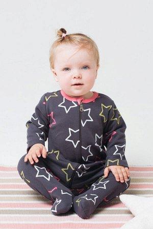 Комбинезон(Осень-Зима)+baby (розовые звезды на тем.сером)