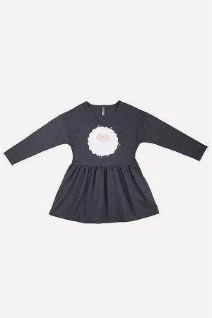 Платье Сезон: Осень-Зима Платье для девочки из супрема с эффектом меланжа, длинные втачные рукава, спущенное плечо, по горловине кант, по талии нижняя часть платья отрезная со сборкой, на полочке заб