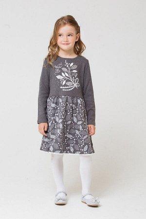 Платье Цвет: темно-серый меланж; Вид изделия: Трикотажные изделия; Полотно: Жаккард; Рисунок: темно-серый меланж; Сезон: Осень-Зима; Коллекция: Зимние цветы Состав: 100 % хлопок. Платье для девочки,