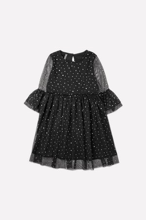 Платье Сезон: Осень-Зима Нарядное платье, нижняя часть из однотонного хлопкового трикотажа супрем. Сверху слой сетки с серебряными блестками. Длинные прозрачные рукава, по низу оборки в два слоя. На