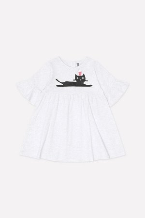 Платье Сезон: Осень-Зима Платье с завышенной талией из однотонного трикотажа супрем. Юбка на сборке. Длинные рукава с оборкой по низу. На спинке застежка на кнопки. Спереди принт с блестками. 100% хл