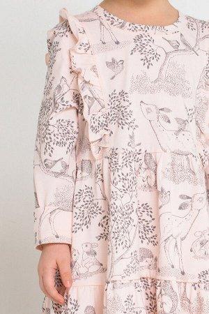 Платье(Осень-Зима)+girls (светло-розовый, лесной мир к219)