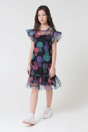 Платье(Весна-Лето)+girls (медузы на черном, черный)