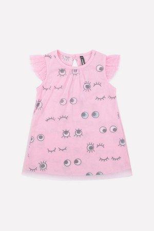 Платье Цвет: розовое облако, глазки; Вид изделия: Трикотажные изделия; Полотно: Супрем; Рисунок: розовое облако, глазки; Сезон: Весна-Лето; Коллекция: Нарядные платья Платье для девочки из трикотажно