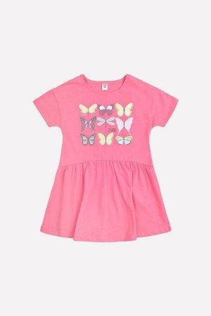 Платье Сезон: Весна-Лето Платье для девочки из трикотажного хлопка. Принт на полочке. Короткие рукава со спущенным плечом. Юбка выполнена со сборкой. 100% хлопок