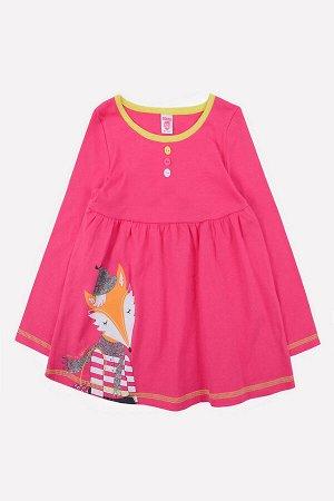 Платье Сезон: Весна-Лето Платье для девочки из трикотажного хлопка, полочка украшена разноцветными глянцевыми пуговицами. Длинные рукава. Контрастный пояс. Юбка выполнена со сборкой, на передней поло