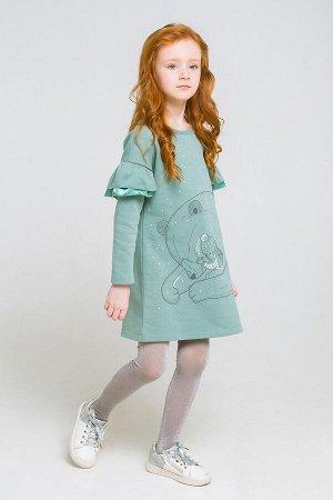 Платье(Осень-Зима)+girls (серо-зеленый к219)
