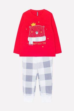 Пижама Цвет: красный, клетка на белом; Вид изделия: Трикотажные изделия; Полотно: Футер начес; Рисунок: красный, клетка на белом; Сезон: Осень-Зима; Коллекция: Новый год Новогодняя пижама из футера.