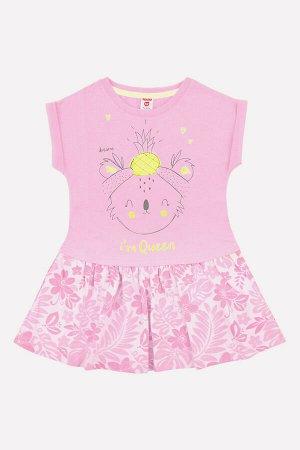 Платье Цвет: нежно-розовый, тропики на неж.розовом; Вид изделия: Трикотажные изделия; Полотно: Супрем; Рисунок: нежно-розовый, тропики на неж.розовом Платье для девочки из супрема, верхняя часть одно