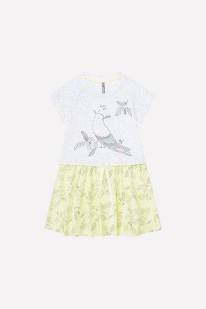 Платье(Весна-Лето)+girls (св.серый меланж, бл.лимонный)