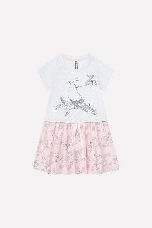 Платье(Весна-Лето)+girls (св.серый меланж, св.лосось)