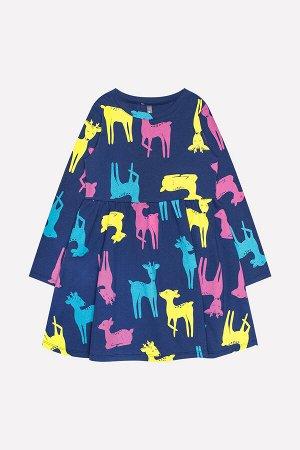 Платье(Осень-Зима)+girls (ультрамарин, оленята к1238)