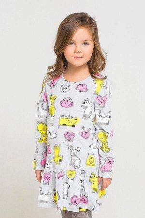Платье(Осень-Зима)+girls (серо-голуб.меланж, собачки к1236)