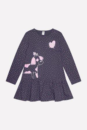 Платье(Осень-Зима)+girls (темно-серый, горошки к1236)
