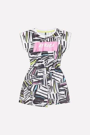 Платье Цвет: цветная графика на сахаре; Вид изделия: Трикотажные изделия; Полотно: Супрем; Рисунок: цветная графика на сахаре; Сезон: Весна-Лето; Коллекция: №207 Манифест Платье для девочки из хлопка