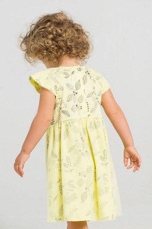 Платье(Весна-Лето)+girls (бледно-лимонный, летние цветы)