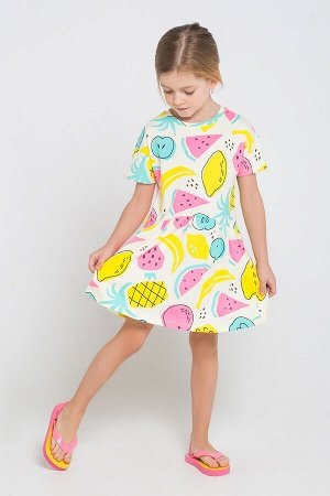 Платье(Весна-Лето)+girls (тропические фрукты на белом к1234)