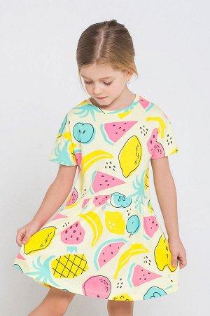 Платье(Весна-Лето)+girls (тропические фрукты на бледно-лимонном к1234)