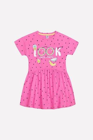 Платье Сезон: Весна-Лето Платье для девочки из трикотажного хлопка с набивным рисунком. Короткие рукава со спущенным плечом. Принт на полочке. Юбка со сборкой. 100% хлопок