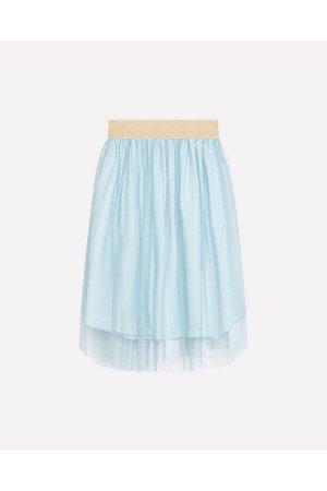 Юбка Сезон: Весна-Лето Двухслойная юбка для девочки из трикотажного хлопка. Верхний слой выполнен из сетки с отливом. Пояс на эластичной резинке с люрексом. верх: 100% полиэстер; подклад: 100% хлопок