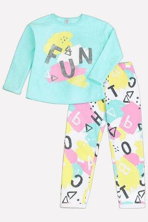 Пижама(Осень-Зима)+girls (аквамарин, буквы и пятна на белом)