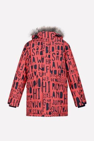 Куртка Цвет: кирпичный, буквы; Утеплитель: с утеплителем; Вид изделия: Изделия из мембраны; Рисунок: кирпичный, буквы; Сезон: Осень-Зима Классическая зимняя парка для мальчика, из ветронепроницаемого