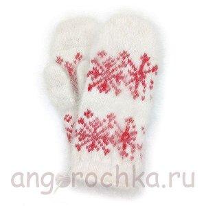 Детские пуховые варежки с красными снежинками - 343.1