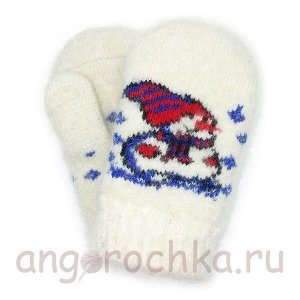 Детские шерстяные варежки-малышки со снеговиком - 345.9