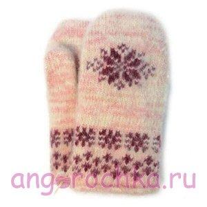 Детские вязаные шерстяные варежки с вишневой снежинкой - 341.75