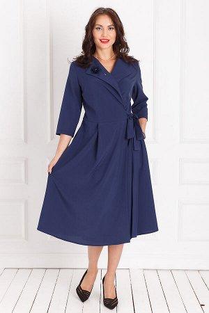 Платье Современная классика (синее) с брошью П1143-1