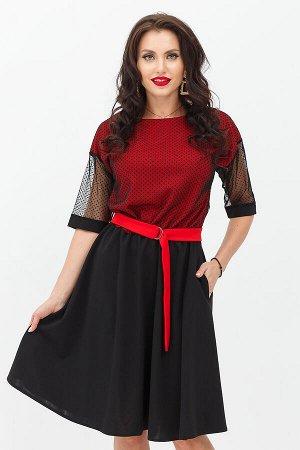 Платье Очарование красного (Хилена) с пояском П1151-13