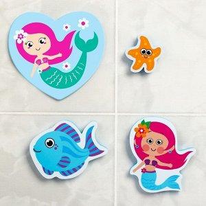 """Набор EVA игрушек для ванны 3шт + мини-коврик """"Русалочка"""""""