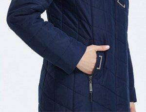 Женское Зимнее пальто с капюшоном, цвет т.синий/бежевый