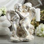 "Статуэтка ""Ангелы пара на камне"" перламутровая, 37 см"