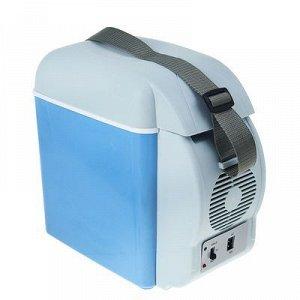 Холодильник автомобильный 7,5 литров, 12V, с функцией подогрева, серо-голубой,