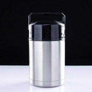 """Термос для еды """"Форталеза"""", 1000 мл, с выдвижной ручкой, сохраняет тепло 24 ч, 19х11.5 см"""