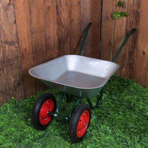 Тачка садовая, двухколёсная: груз/п 180 кг, объём 65 л, пневмоколесо 3.00/3.25-8, кузов 0,6 мм, разборная рама