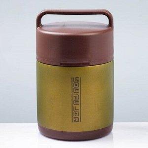 """Термос для еды """"Практик"""", 1.5 л, 2 тарелки, ложка, сохраняет тепло 12 ч, 21х13 см"""