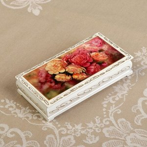Шкатулка - купюрница «Пионы», белая, 8,5?17 см, лаковая миниатюра