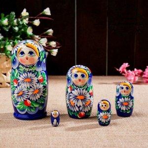 """Матрешка """"Ромашки"""", голубоглазая синяя, 5 кукольная"""
