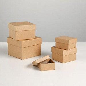 """Набор коробок 5в1 """"Крафт однотонный"""" 12 x 12 x 9 - 6 x 6 x 3 см"""