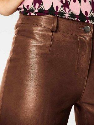 Кожаные леггинсы, коричневые