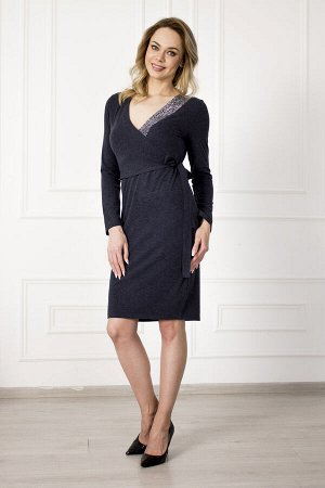 Платье 825 кристалл темно-синее