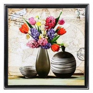 """Картина """"Вазы с полевыми цветами"""" 36х36 см"""