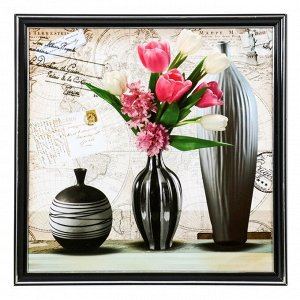 "Картина ""Вазы с тюльпанами"" 36х36 см"