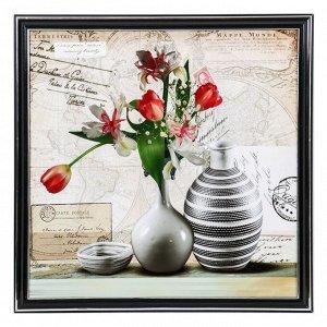 """Картина """"Вазы с букетом тюльпанов"""" 36х36 см"""
